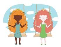 2 милых принцессы на качании иллюстрация вектора