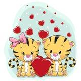 2 милых тигра с сердцами иллюстрация вектора