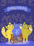 3 милых fairy кота баюкают ребенка Дизайн границы или крышки Стоковое фото RF