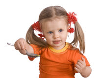 младенец ест грушу померанца девушки Стоковое Изображение RF