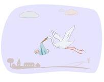 младенец заботя newborn аист Бесплатная Иллюстрация