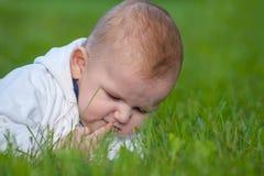 Младенец лежит на зеленой траве стоковая фотография