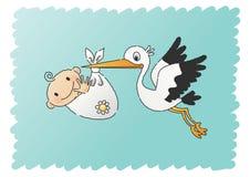 младенец поставляя аиста Стоковая Фотография