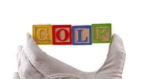 младенец преграждает гольф перчатки Стоковые Изображения RF