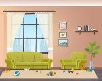 Младенец разбросал игрушки на поле Грязная живущая комната иллюстрация вектора