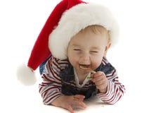 младенец смеясь над santa Стоковые Фото
