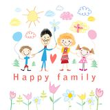 Младенец шаржа рисуя счастливую семью Стоковые Изображения