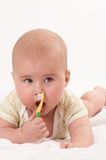младенец toothbrooshing7 Стоковые Изображения