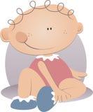 младенца усаживание девушки вниз Стоковое Изображение
