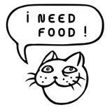 Мне нужна еда! Голова кота шаржа речи персоны пузыря вектор графической говоря также вектор иллюстрации притяжки corel Стоковое Изображение RF