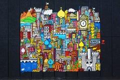 Мнимый город на красивом искусстве улицы, Лондон Стоковое Изображение