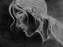Мнимый чертеж эскиза стороны дамы Стоковые Фотографии RF