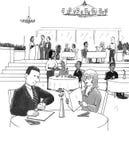 многодельный ресторан людей иллюстрация вектора
