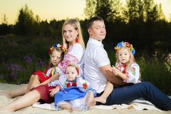 Многодетная семья в этнических украинских костюмах сидит на луге, концепции многодетной семьи стоковое изображение rf