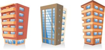 Многоквартирные дома здания установили 3 Стоковое Изображение RF