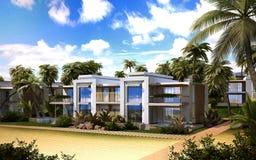 Многоквартирный дом на пляже иллюстрация штока