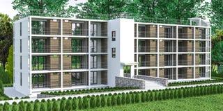Многоквартирный дом с садом Стоковое Изображение RF