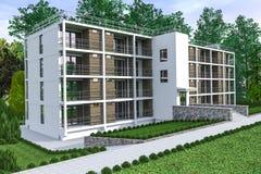 Многоквартирный дом с садом Стоковая Фотография RF