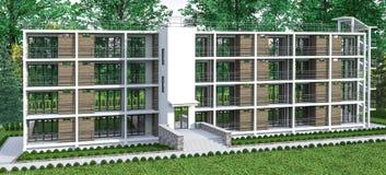 Многоквартирный дом с садом Стоковая Фотография