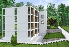 Многоквартирный дом с садом Стоковое Фото