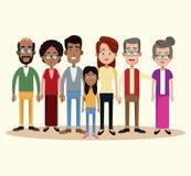многокультурное семьи группы различное иллюстрация штока