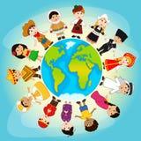 Многокультурные люди на земле планеты бесплатная иллюстрация