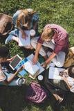 Многонациональные студенты изучая совместно Стоковые Изображения RF
