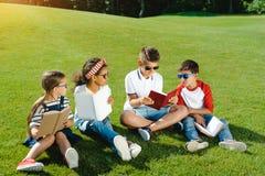 Многонациональные дети в книгах чтения солнечных очков на зеленом луге в парке Стоковое Изображение