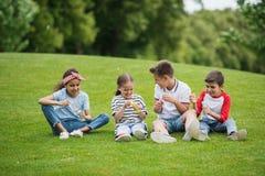 Многонациональные дети играя с пузырями мыла пока сидящ на зеленом луге в парке Стоковое Изображение RF