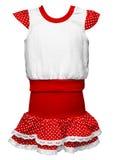 многоточия одевают фасонируемых девушок старый красный цвет польки Стоковые Фото
