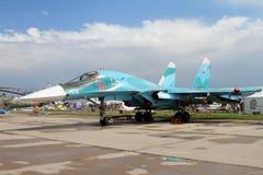 Многофункциональный истребитель-бомбардировщик Su-34 названный после Oleg Peshkov на Стоковое Фото