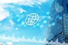 Многоэтажные здания с значком и диаграммами глобуса Стоковая Фотография RF
