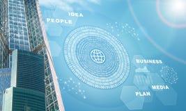 Многоэтажные здания с картой и диаграммами мира Стоковые Изображения RF