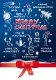 Многоязычная рождественская открытка Стоковое Изображение RF