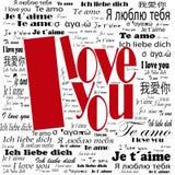 Многоязычный «я тебя люблю» плакат Стоковая Фотография RF