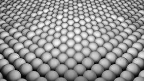 Много абстрактных сфер, обман зрения как море развевают, современным 3D произведенное компьютером представляют предпосылку Стоковое Фото