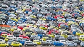 Много автомобилей в внешнем складе Стоковые Изображения RF