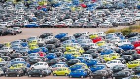 Много автомобилей в стояночной площадке в Копенгагене Стоковая Фотография RF