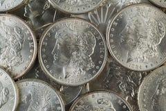 Много американских серебряных долларов Стоковые Фотографии RF