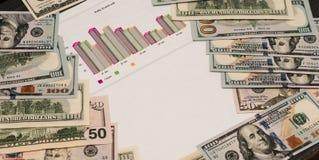 Много банкнот доллара черная таблица Доллар американца денег наличных денег Интересная предпосылка в наличных деньгах и математич стоковые фото