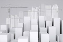 Много белых кубов с зданиями провод-рамки и Стоковая Фотография RF