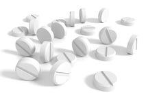 Много белых пилюлек лекарства стетоскоп дег микстуры лож принципиальной схемы установленный Стоковое фото RF