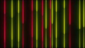 Много вертикальных неоновых линий освещения, абстрактный компьютер произведенный фон, 3D представляют видеоматериал