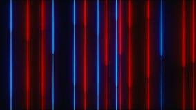 Много вертикальных неоновых линий освещения, абстрактный компьютер произведенный фон, 3D представляют акции видеоматериалы