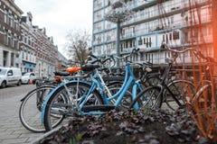 Много велосипедов припаркованных в lockable области Стоковое фото RF