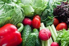 Много видов растительности и овощей лежа на таблице стоковые фотографии rf