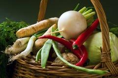 Много видов овоща в плетеной корзине стоковое фото rf