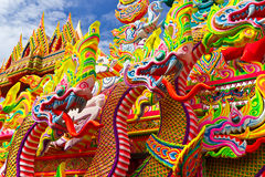 Много возглавляют дракона, тайского. Стоковое фото RF