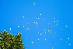 Много воздушные шары игрушки в голубом небе Стоковое Изображение RF