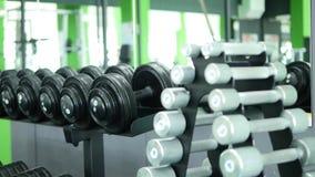 Много гантелей фитнеса в спортзале Стоковое фото RF